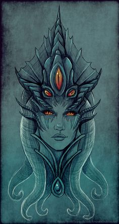 Saw Queen Azshara's new model and I just had to sketch her. #worldofwarcraft #blizzard #Hearthstone #wow #Warcraft #BlizzardCS #gaming