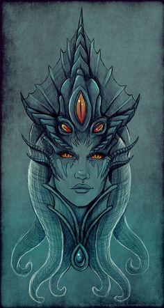 Fan arts de la Reina Azshara desde Battle For Azeroth - WowChakra Art Warcraft, World Of Warcraft 3, Azshara Wow, Magical Creatures, Fantasy Creatures, World Of Warcraft Wallpaper, Arte Sketchbook, Wow Art, Merfolk