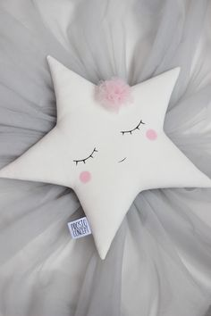 Handmade sleeping white star pillow with a pale pink tulle flower. Dimensions - Pale pink flower made with a tulle fabric. All my pillows are made with COTTON on. Cute Pillows, Baby Pillows, Kids Pillows, Animal Pillows, Throw Pillows, Tulle Flowers, Pink Tulle, Tulle Fabric, Baby Crafts