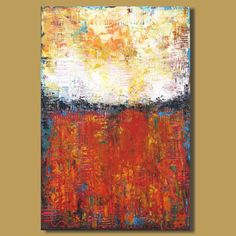 Surfacing (24x36) abstract art abstract painting abstract landscape painting expressionism impasto red and yellow modern art original art by SageMountainStudio on Etsy https://www.etsy.com/listing/195665870/surfacing-24x36-abstract-art-abstract