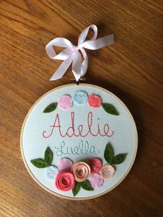 8 EMBROIDERED NAME GIRLS style Personalized by MissTweedleCrafts
