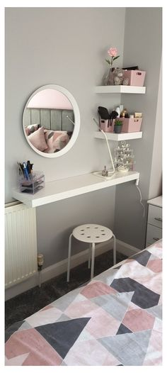 Room Design Bedroom, Room Ideas Bedroom, Home Room Design, Small Room Bedroom, Home Decor Bedroom, Small Rooms, Small Spaces, Dressing Room Decor, Dressing Table Ideas Ikea