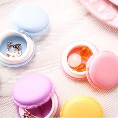 1X d'anniversaire douce mignon de bonbons Macaron bijoux Mini Case boîte de rangement cosmétiques de maquillage conteneurs Valentine cadeau du jour