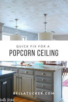 Popcorn Ceiling Styrofoam Tiles- 5 Years Later - Bella Tucker : styrofoam ceiling tiles install right over popcorn ceilings Styrofoam Ceiling Tiles, Tin Ceiling Tiles, Ceiling Panels, Ceiling Fan, Basement Ceiling Options, Ceiling Ideas, Basement Walls, Ceiling Finishes, Ceiling Design