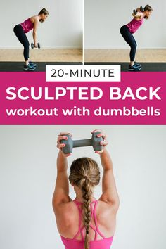 Upper Body Workout For Women The 8 best back exercises for women! This at home workout uses a set of dumbbells to strengthen the largest muscle in your upper body, your back! Each exercise strengthens and tones the entire back, and s Dumbbell Back Workout, Workout Hiit, Back Fat Workout, Band Workout, 20 Minute Workout, Workout Videos, Arms And Back Workout At Home, Workout Plans, Boxing Workout
