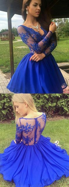 Royal Blue Homecoming Dresses,Lace Homecoming Dresses,LonginesSleeves Homecoming Dresses,Homecoming Dresses Short