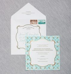 Larkspur #wedding #invitation suite by Dauphine Press (available at You're So Invited! Westwood NJ)