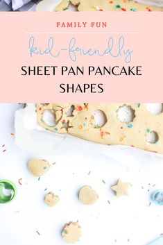 Homemade Sheet Pan Pancakes - a deliciously quick breakfast recipe. Make these oven-baked pancakes any time you want delicious, fluffy, and easy pancakes. Oven Baked Pancakes, Pancakes Easy, Fluffy Pancakes, Mini Cookie Cutters, Mini Cookies, Cookies For Kids, Pancakes From Scratch, Homemade Pancakes, Mini Chocolate Chips