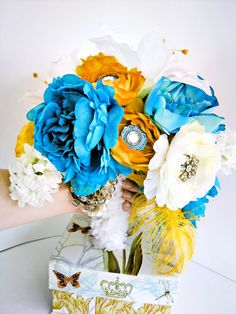 Golden Jeweled Bridal Bouquet Turquoise Yellow White