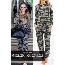 Camouflage 2 piece lounge set Celebrity inspired in grey available here www.sarahbirdsboutique.co.uk