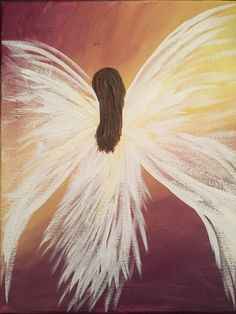 Backwards angel diy canvas painting easy art