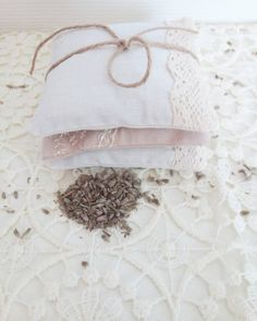 Handmade / Bridal / Wedding Favors Lavender Pillow Bags Sachet Set of 3 With Lace / Cottage Home Decor / Vintage Gift