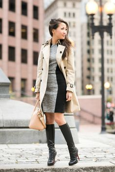 Coat :: Burberry trench   Dress :: By Malene Birger   Shoes :: Christian Louboutin   Bag :: Givenchy  Accessories :: OPI 'Lincoln park after dark' polish.