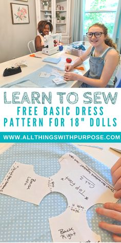 Free Basic Dress Pattern for American Girl and Dolls - Basic Dress Pattern for American Girl Dolls: Easy to Learn! Sewing Doll Clothes, American Doll Clothes, Sewing Dolls, Dress Sewing, Barbie Clothes, Doll Patterns Free, Sewing Patterns Girls, Free Pattern, Sewing Ideas