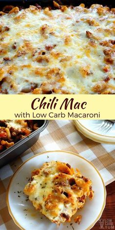 A spicy ground beef and pasta casserole that can be made with any pasta. But to cut carbs, this chili mac recipe used low carb macaroni.   LowCarbYum.com via @lowcarbyum #lowcarbrecipe