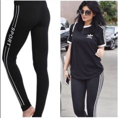 CELEBRITY STYLE SPORT LEGGINGS  MUST SEE I love these leggings!! Most favorite pair I own. The fit is so flattering & the material is high quality. They are soft and stretchy, size is one size, these are like magic leggings they fit sizes from XS to Large. If you have any questions just ask  not Adidas listed for exposure. Get the look for less!!!  BUNDLE for savings $$$$  Adidas Pants Leggings