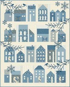 Winter Village Traditional Quilt Pattern by Laundry Basket Quilts. Finished Size 53 x 66 This is a quilting pattern, not a finished product Shipping will be via USPS first class mail Thank you:) House Quilt Patterns, House Quilt Block, Colchas Quilt, Quilt Blocks, Tree Quilt, Book Quilt, Quilt Kits, Patchwork Quilting, Applique Quilts