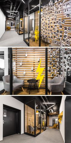 In this modern office, glass enclosed rooms allow for fun artwork or photos to be attached to the glass, and the wood slats and flooring match the other seating areas in the hallway.