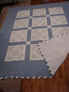 Vintage Blue And White Quilt With Prairie Point by LilandLou, $215.00