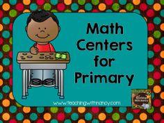 A Pintererst board filled with math center ideas for grades Kindergarten, 1st grade, 2nd grade, 3rd grade, 4th grade and 5th grade.