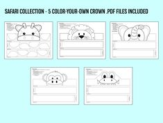 Safari Multi-Pack COLOR YOUR OWN Crown Printables