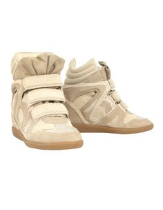 Isabel Marant Wilow Basket Boot. Beige leather and suede sneakers.