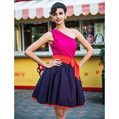 TS Contrast Color One Shoulder Swing Dress – AUD $ 20.46