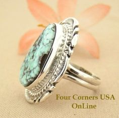 Elongated Dry Creek Turquoise Stone Ring Size 7 1/4 Thomas Francisco Four Corners USA OnLine Native American Indian Silver Jewelry NAR-1431 Silver Jewellery Indian, Silver Jewelry, Fine Jewelry, Turquoise Jewelry, Tanzanite Engagement Ring, Diamond Engagement Rings, Diamond Bands, Diamond Wedding Bands, Native American Jewelry
