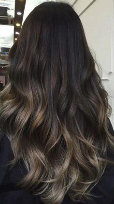 Brown Hair Balayage, Hair Color Balayage, Dark Brunette Balayage Hair, Black Hair To Balayage, Long Brunette Ombre, Hair Color Brunette, Fall Balayage, Balayage Straight Hair, Subtle Balayage