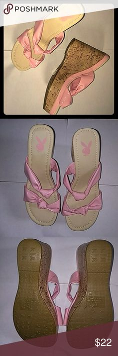 Pink playboy wedge heels sz.9m New without box candy pink wedges size 9m playboy Shoes Espadrilles