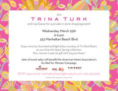 Private Shopping Event @ Trina Turk tonight! http://southbaybyjackie.com/The-Scoop.php