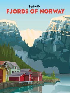 travel poster Erkunden Sie die Fjorde Norwegens Un - Vintage Travel Posters, Vintage Ads, Tattoo Italy, Travel Ads, Travel Packing, Travel Luggage, Reisen In Europa, Norway Travel, Stavanger
