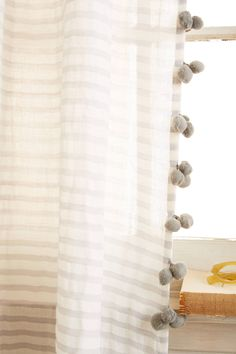 Pom Tassel Curtain by Anthropologie in Beige, Curtains Pom Tassel Curtain by Anthropologie in Grey, Curtains Pom Pom Curtains, Drop Cloth Curtains, Home Curtains, Kids Curtains, Linen Curtains, Hanging Curtains, Kitchen Curtains, Curtains For Nursery, Playroom Curtains
