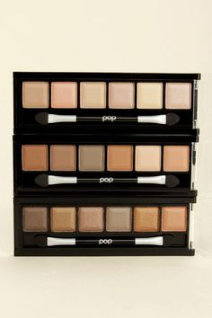 The Pop Beauty Caffeine Eye Trilogy Eye Shadow Kit is three times a lady with not one, but three eye shadow palettes included! Three clasping cases each contains six sexy shades ranging from a light latte nude to deep espresso brown, with finishes that go from matte to extra shimmery. Each palette includes 0.20 oz. of shadow. Cruelty Free, No Animal Testing. Ingredients: Mica, Petrolatum, Mineral Oil, Polybutene, Methylparaben, Propylparaben, Tocopheryl Acetate, Tocopherol, Colorants.