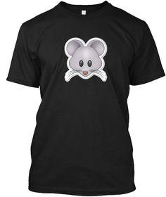 Mouse Face T Shirt Emoticon Mice Rat Cat Black T-Shirt Front