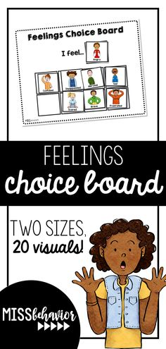 Visual based feelings choice board with 20 visuals and two sized boards. Visual based feelings choice board with 20 visuals and two sized boards. Communication Activities, Feelings Activities, Speech Therapy Activities, Learning Activities, Play Therapy, School Resources, Teaching Resources, Autism Resources, Classroom Hacks