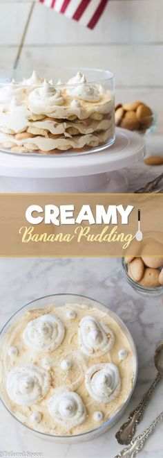 Creamy Banana Pudding! An irresistible dessert topped with Vanilla Wafer crumbs and whipped topping.