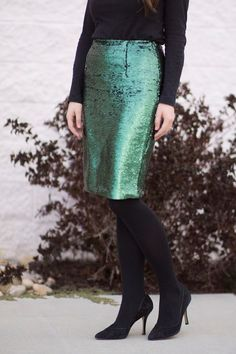 Green sequined skirt- perfect for the holidays!