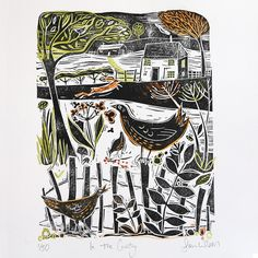 Country Living / Sam Wilson Studio / In The Country - Original Lino Print