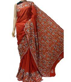 Orange Kantha Stitch Pure Bangalore Silk Saree