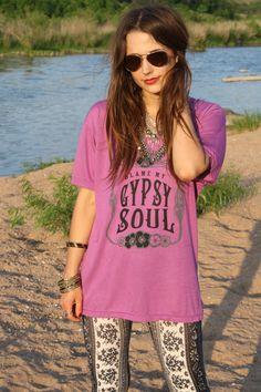 Gypsy Tee Long Shirt, MEDIUM, Magenta, Blame It on My Gypsy Soul, Gypsy shirt, Gypsy Chic by BohoCircus on Etsy