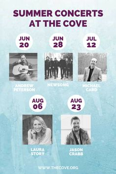 Join us for an Evening at The Cove this summer! Lots of talented artists to choose from!
