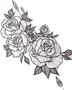 Stickers from – floral tattoo sleeve Rose Tattoo Stencil, Rose Drawing Tattoo, Rose Tattoo Thigh, Tattoo Sketches, Rose Tattoos, Tattoo Drawings, Rose Tattoo Man, 3 Roses Tattoo, Flower Tattoo Designs