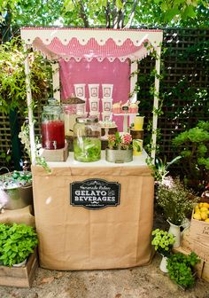La Dolce Vita Italy Inspired Twins Birthday Party: Gelato & Beverage Bar