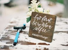 Selfie Stick Signage    Photography: Tec Petaja   Read More:  http://www.insideweddings.com/weddings/childhood-friends-celebrate-wedding-at-marriott-familys-lake-house/866/