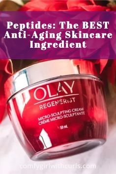 Are you using skin care products with peptides in them? You really should be as they are the best anti-aging skincare ingredient, and you can find products that contain them in the drugstore. I've partnered with Olay to help educate others on the importance of this valuable ingredient in their Olay Regenerist Micro- Sculpting Cream (their signature moisturizer in the red jar!) #Skincare #Skincareproduct #antiaging