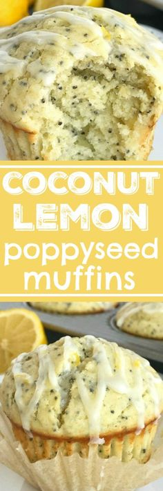 Coconut Lemon Poppyseed Muffins | Perfect coconut lemon poppyseed muffins are a must make for Easter and springtime. Coconut and lemon combine in a soft & moist poppyseed muffin with a lemon glaze on top. These muffins are filled with coconut oil, coconut extract, fresh lemon zest & juice, and poppyseeds #muffins #muffinrecipes