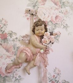 shabby chic cherub plaque pink rose romantic by TheGirlyCottage on ETSY