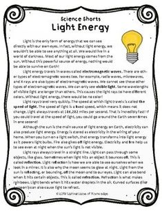 This easy to read, one page passage all about light energy is perfect for science. It includes 10 multiple choice reading comprehension questions and an answer key. Science Lesson Plans, Science Lessons, Teaching Science, Science Education, Reading Comprehension Passages, Comprehension Questions, What Is Reflection, 4th Grade Science, Word Problems