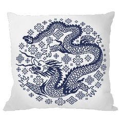 Cross stitch kit - Pillow - Chinese porcelain III Cross Stitching, Cross Stitch Embroidery, Cross Stitch Patterns, Dragon Cross Stitch, Cross Stitch Flowers, Steampunk, 3d Rose, Chinese Dragon, Tapestry